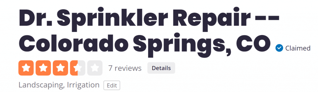 Yelp Dr. Sprinkler Repair Review